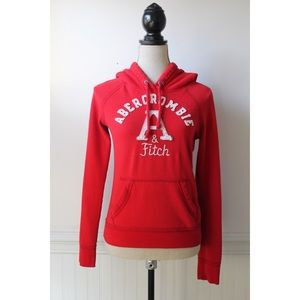 Abercrombie & Fitch Red Logo Pullover Sweatshirt